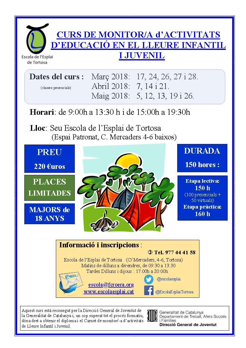 Cartell - Curs Monitor - Tortosa - Primavera 2018